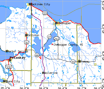 Cheboygan County, MI map