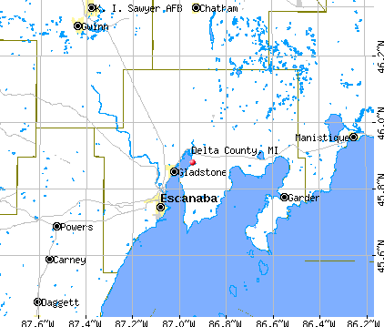 Delta County, MI map