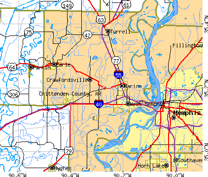 Crittenden County, AR map
