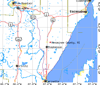 Menominee County, MI map