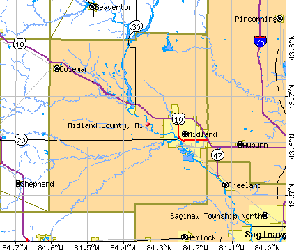 Midland County, MI map