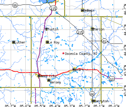 Osceola County, MI map