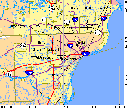 Wayne County, MI map