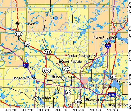 Anoka County Minnesota Detailed Profile Houses Real Estate - County maps of minnesota