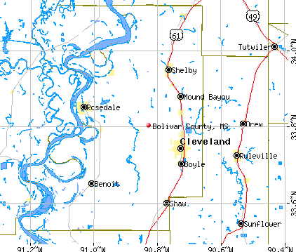Bolivar County, MS map