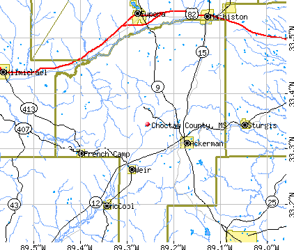 Choctaw County, MS map
