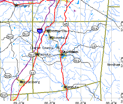 Clarke County, MS map