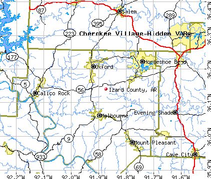 Izard County, AR map