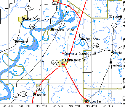 Coahoma County, MS map
