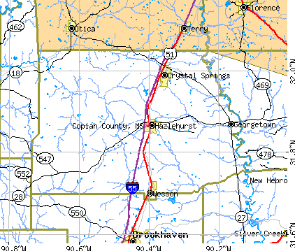 Copiah County, MS map