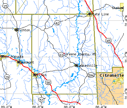 Greene County, MS map