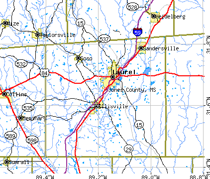 Jones County, MS map