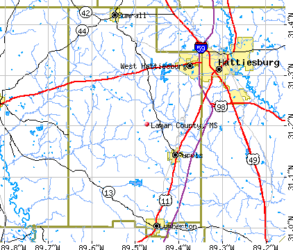 Lamar County, MS map