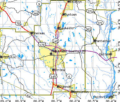Lee County, MS map