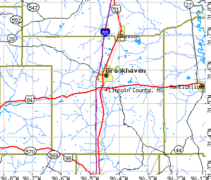 Lincoln County, MS map