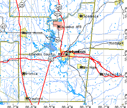 Lowndes County, MS map