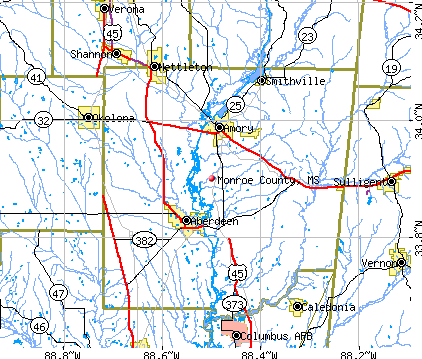Monroe County, MS map