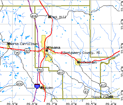 Montgomery County, MS map