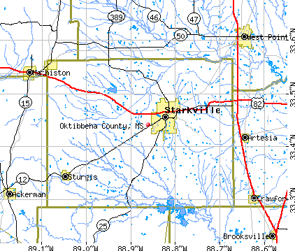 Oktibbeha County, MS map