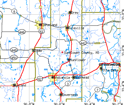 Sunflower County, MS map