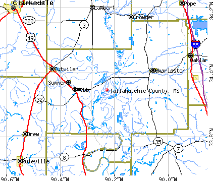 Tallahatchie County, MS map