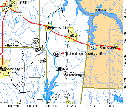 Tishomingo County, MS map