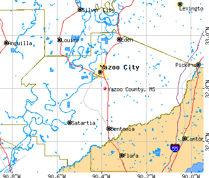 Yazoo County, MS map