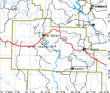 Carter County, MO map