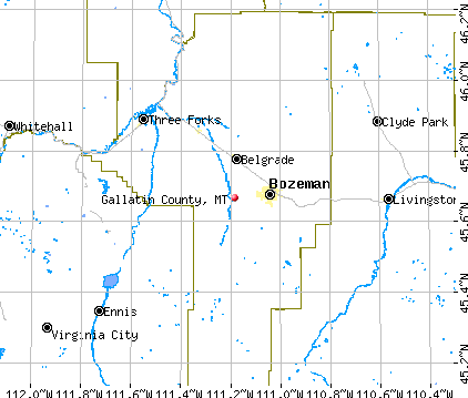 Gallatin County, MT map