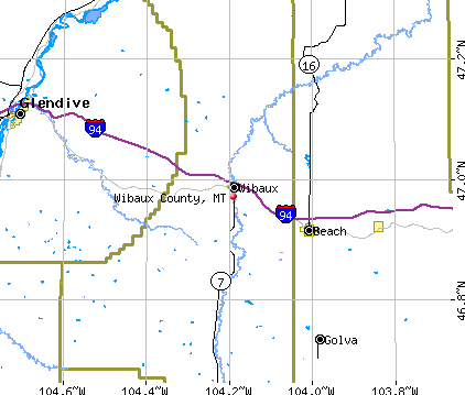 Wibaux County, MT map