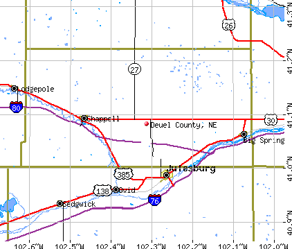Deuel County, NE map