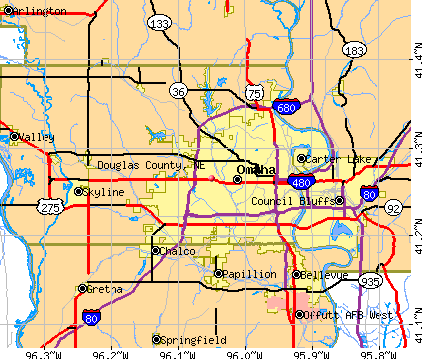 Maps Nebraska Counties Douglas County ne Map
