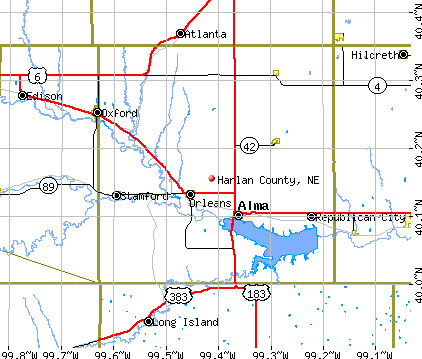 Harlan County, NE map