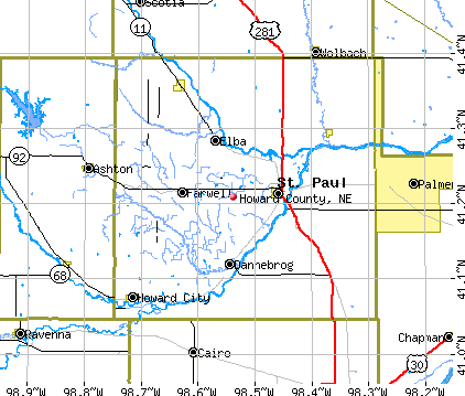 Howard County, NE map