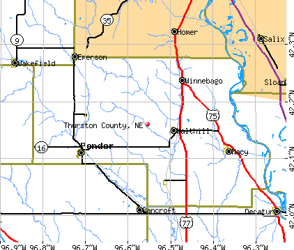Thurston County, NE map