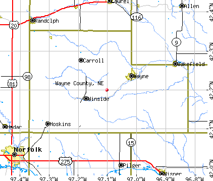 Maps Nebraska Counties Wayne County ne Map