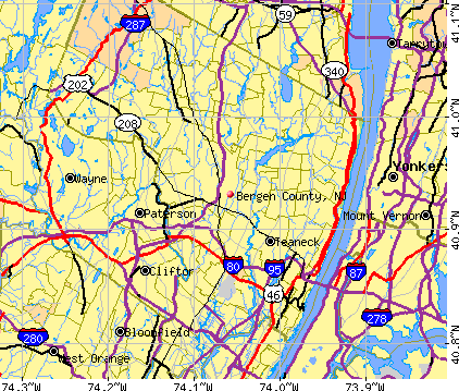 Bergen County, NJ map