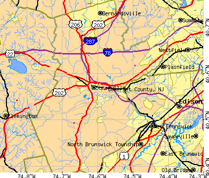 Somerset County, NJ map