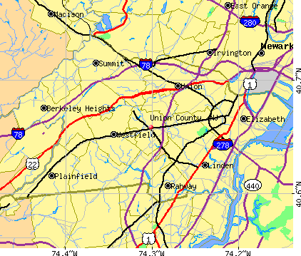 Union County, NJ map