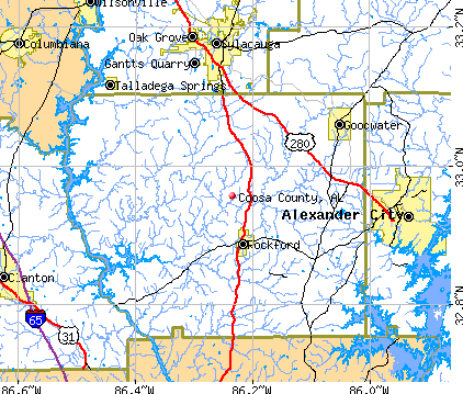 Coosa County, AL map