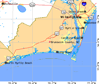Brunswick County, NC map