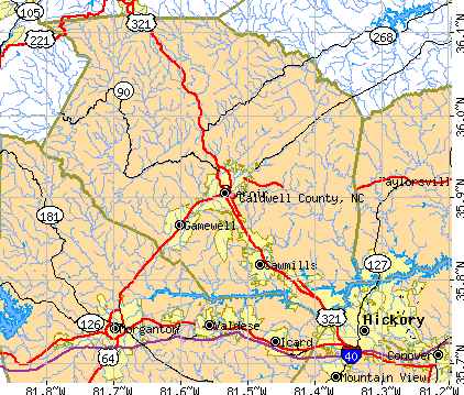 Caldwell County, NC map