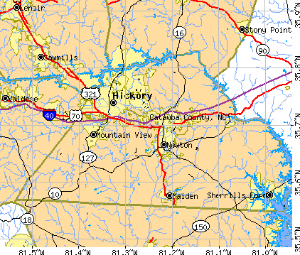 Catawba County, NC map. General Map; Google Map; MSN Map