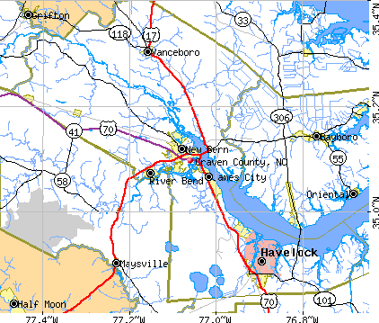 Craven County, NC map