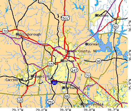 Durham County, NC map
