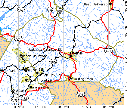 Watauga County, NC map