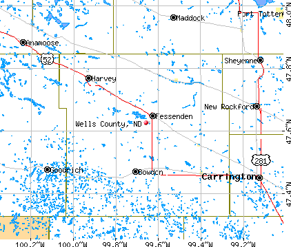 Wells County, ND map
