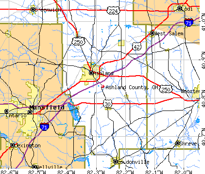 Ashland County, OH map