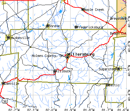 Holmes County, OH map