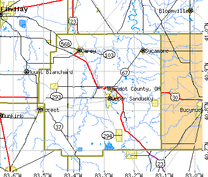 Wyandot County, OH map